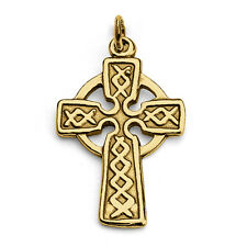 Celtic Cross Irish Charm Pendant #14K Gold Plated Sterling Silver #Azaggi P0039G