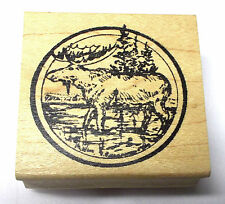 Scenic Moose rubber stamp Wild animals tree circle frame wood mounted Northwoods