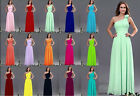 Chiffon One Shoulder Evening Formal Party Ball Gown Prom Bridesmaid Dress 6 - 16