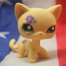 Littlest Pet Shop Standing Cat Short Hair Yellow Purple Flowers LPS #1962