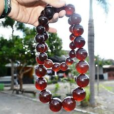 1105ct 37 Round Beads Handmade 100% Natural Red Cherry Amber Necklaces