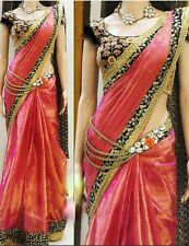 Indian Bollywood Designer Paper SIlk Saree With Blouse Piece