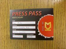 07/09/2007 Ticket: Milton Keynes Dons v Notts County [Press Pass] (staple holes)