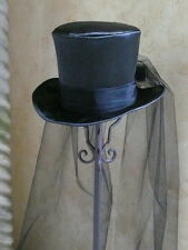 "GOTHIC BRIDE-BLACK SATIN TOP HAT- FULL LONG VEIL-M/L-22.5-23""- 7 1/4-7 3/8"