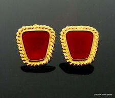 1980's Designer ANNE KLEIN AK sign. Lippenstift rote Ohrclips Ohrringe, Earrings