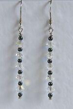 Pendientes de plata 925 claro AB Cristal Swarovski Elements Hematites nupcial