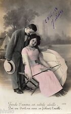 BK796 Carte postale Photo vintage card RPPC couple fantaisie amour parapluie