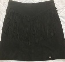 superdry womens leather skirt with fringing size M