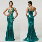 Plus Size Long PURPLE/Teal Evening Gown Ball Party Bridesmaid Formal PROM Dress