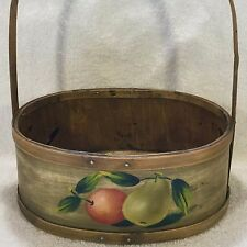 Oval WOODEN Autumn Fruit Harvest BASKET w/ Handle Antique Look Wood Hand Painted