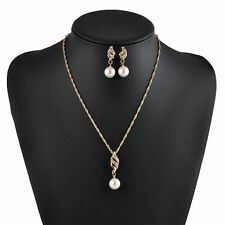 Women Gold Plated Pearl Necklace Earrings Set Wedding Party Pendant Jewelry