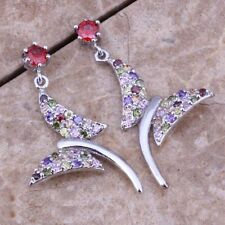 Gorgeous Sterling Silver 925 MULTI-GEMSTONE BUTTERFLY Stud Drop Earrings