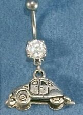 VW Volkswagon Bug 3D Silver Car Charms Navel Belly Ring 316L Surgical Steel
