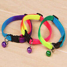 Fancy Rainbow Collar With Small Bell for Pet Cat Dog Puppy Adjustable Collar