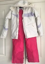 Girls Snow Ski Suit Jacket Trouser White Pink Winter Snowsport No Fear Age 11-12