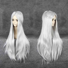 Cosplay Costume Party Long Straight Anime Wigs Silvery White Full Hair Wig DIY