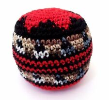 Hacky Sack Boota Bag Crochet Footbag Guatemalan New Multi Color Red Star Kickbag