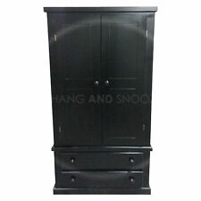 HAND MADE DEWSBURY FURNITURE BLACK 2 DRAWER WARDROBE(ASSEMBLED)**SPECIAL OFFER**