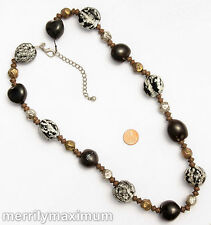 Chico's Signed Necklace Tri Tone Long Chunky Seed Pod Beads Black White Silver