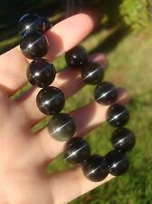 Nature Black Rainbow  Obsidian  15mm 15 Pcs Beads Bracelet