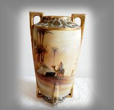 Nippon large vase with desert oasis camel scene - gold beading - FREE SHIPPING