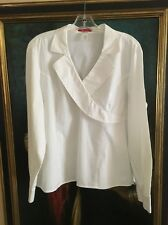 Anne Klein White Fitted Stretch Cross Top Blouse Women's Size XL