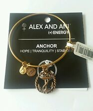 Alex and Ani NAUTICAL Anchor Charm Bangle Bracelet BOX NWT Rafaelian Gold
