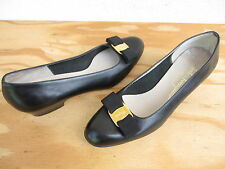 Vtg Womens Salvatore Ferragamo Sz 8.5B Vara Bow Pumps Shoes Black Leather Italy