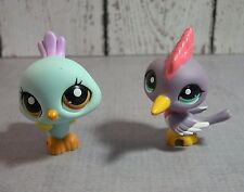 Littlest Pet Shop lot of 2 LPS birds  #1719 blue peacock #2131 purple woodpecker