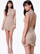 NWT Bebe brown nude crochet lace open back mock neck mini top dress XS XXS 0
