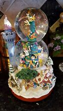 RARE Musical Disney DOUBLE SNOW WATER GLOBE Tinkerbell Rotates on Top of TREE!
