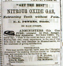 1866 Hartford CT newspaper w DENTIST AD Nitrous oxide used as dental ANESTHESIA