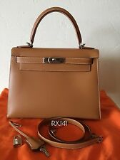 Authentic Hermes Kelly Sellier 28 Natural Chamonix Palladium Hardware
