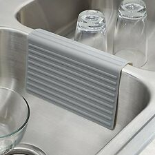 Silicone Double Sink Divider Protector Saddle Mat Kitchen Dish Safe Durable Gray