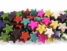 16mm Star Beads Chalk Turquoise Dyed/Stabilized Mix  Beads 15 inch