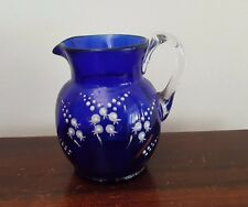 Mary Gregory Cobalt Blue Lily of the Valley Enamel Glass Jug