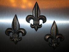 Set of 3 Cast Iron Fleur de Lis Magnets Old World Tuscan Medieval Kitchen Decor