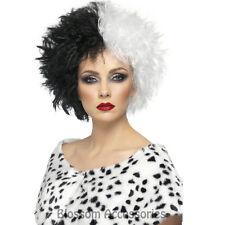 W297 Adult Black & White Short Curly Wig Evil Madame Cruella De Vil Party Fancy