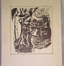Charcoal Portrait Elderly African American Man, 7 x 8, N. Decamp 1967, Matted