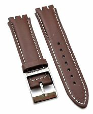 Compitable Swatch 17mm Brown Leather Watch Strap SWC103 (Similar Strap)
