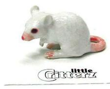 "Little Critterz Miniature Porcelain Animal Figure White Mouse ""Nibbles"" LC123"