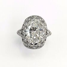 4.83 Carats Antique Diamond Wedding Ring GIA 4.03 G SI2 Oval GIA Diamond 1920s