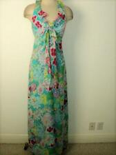 KAY UNGER Nwt Size 10 Silk Floral Print Halter Maxi Dress 10