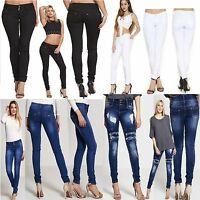 Womens Jeans Ladies Ripped Stretchy Skinny Denim Pants UK Size 6 8 10 12 14 16
