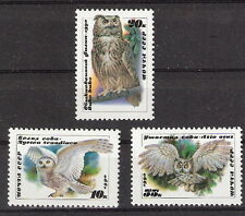 Russia 1990 Birds Owls Complete Set of Three (3) MNH (SC# 5871 - 5873)