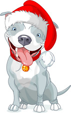 "Pit Bull Dog Christmas Santa Hat Car Bumper Sticker Decal 4"" x 5"""