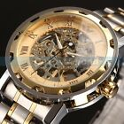 Mens Classic Transparent Steampunk Skeleton Mechanical Man Stainless Steel Watch
