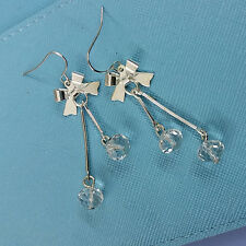 WOMENS Lovely Silver Plated Metal Bow Dangle Clear Beads Drop Hoop Hook Earrings