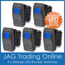 5x BLUE LED CARLING STYLE WATERPROOF ROCKER SWITCH DUAL LIGHT- Boat/Caravan/4x4