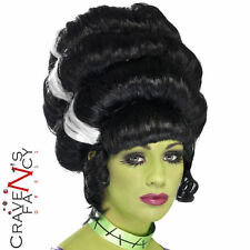 Frankensteins Bride Wig Pin Up Frankie Halloween Fancy Dress Costume Black New